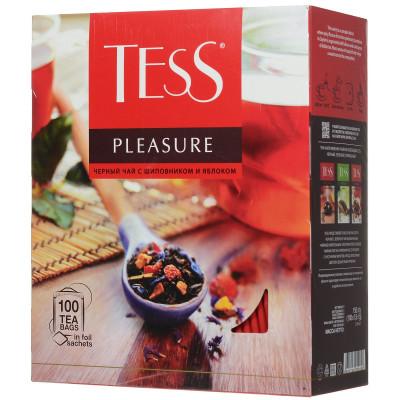 Купить Tess Pleasure черный чай с шиповником и яблоком в пакетиках, 100 шт